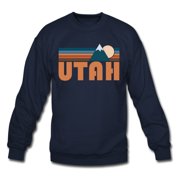Utah Sweatshirt - Retro Mountain Utah Crewneck Sweatshirt - navy