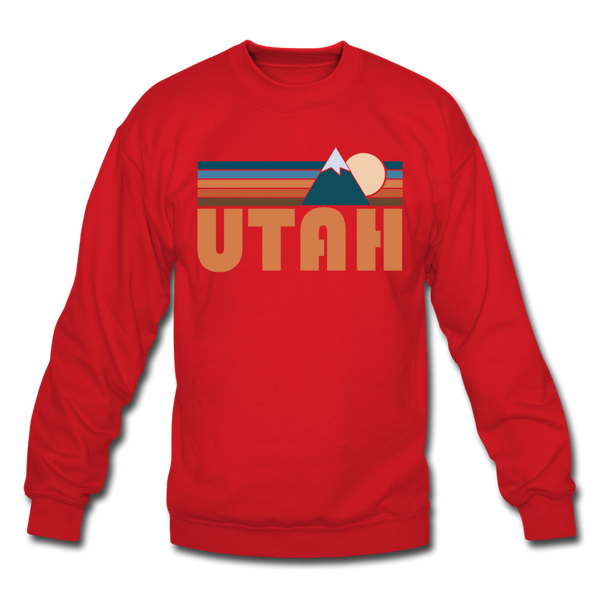 Utah Sweatshirt - Retro Mountain Utah Crewneck Sweatshirt - red