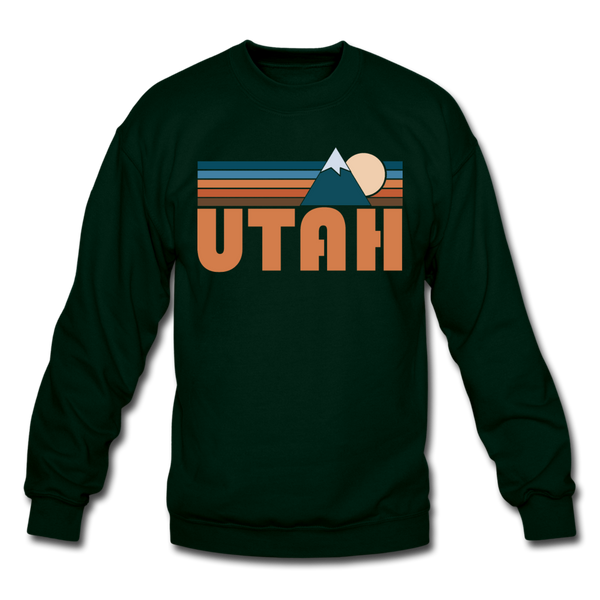 Utah Sweatshirt - Retro Mountain Utah Crewneck Sweatshirt - forest green