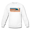 Telluride, Colorado Sweatshirt - Retro Mountain Telluride Crewneck Sweatshirt - white