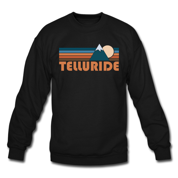 Telluride, Colorado Sweatshirt - Retro Mountain Telluride Crewneck Sweatshirt - black