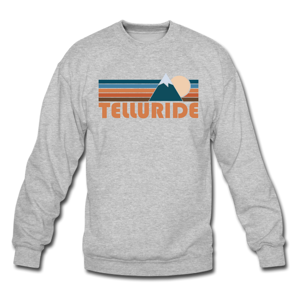 Telluride, Colorado Sweatshirt - Retro Mountain Telluride Crewneck Sweatshirt - heather gray