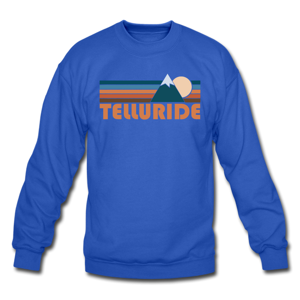 Telluride, Colorado Sweatshirt - Retro Mountain Telluride Crewneck Sweatshirt - royal blue