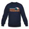Telluride, Colorado Sweatshirt - Retro Mountain Telluride Crewneck Sweatshirt - navy