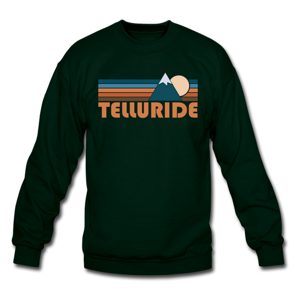 Telluride, Colorado Sweatshirt - Retro Mountain Telluride Crewneck Sweatshirt - forest green