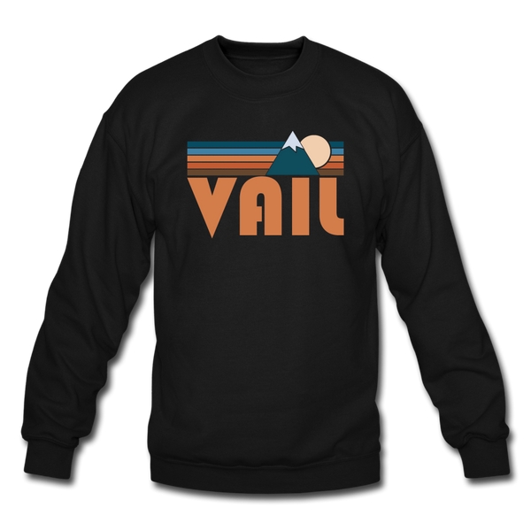 Vail, Colorado Sweatshirt - Retro Mountain Vail Crewneck Sweatshirt - black