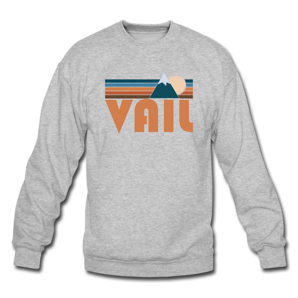 Vail, Colorado Sweatshirt - Retro Mountain Vail Crewneck Sweatshirt - heather gray