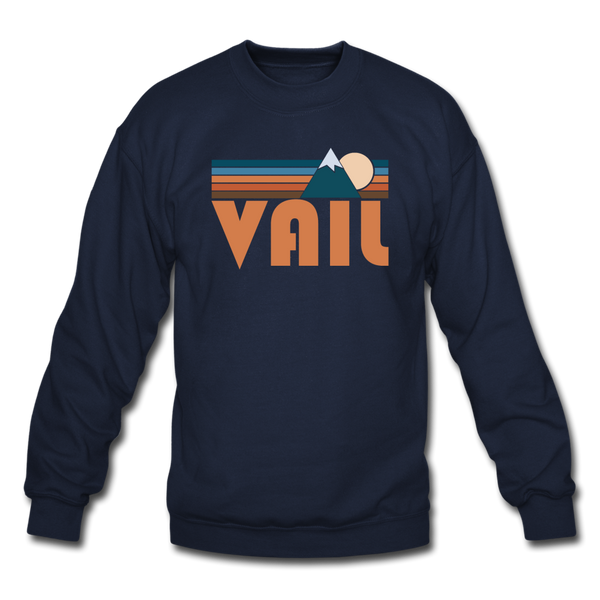 Vail, Colorado Sweatshirt - Retro Mountain Vail Crewneck Sweatshirt - navy