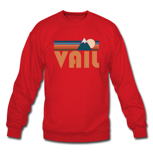 Vail, Colorado Sweatshirt - Retro Mountain Vail Crewneck Sweatshirt - red