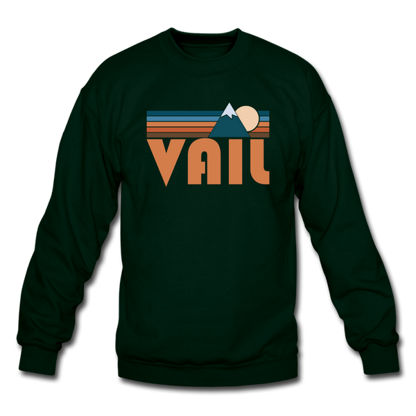 Vail, Colorado Sweatshirt - Retro Mountain Vail Crewneck Sweatshirt - forest green