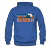 Alaska Hoodie - Retro Mountain Alaska Crewneck Hooded Sweatshirt - royal blue