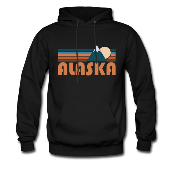 Alaska Hoodie - Retro Mountain Alaska Crewneck Hooded Sweatshirt - black