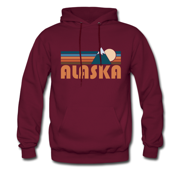 Alaska Hoodie - Retro Mountain Alaska Crewneck Hooded Sweatshirt - burgundy