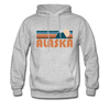Alaska Hoodie - Retro Mountain Alaska Crewneck Hooded Sweatshirt - heather gray
