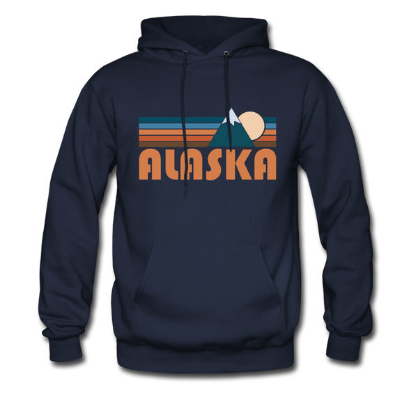 Alaska Hoodie - Retro Mountain Alaska Crewneck Hooded Sweatshirt - navy