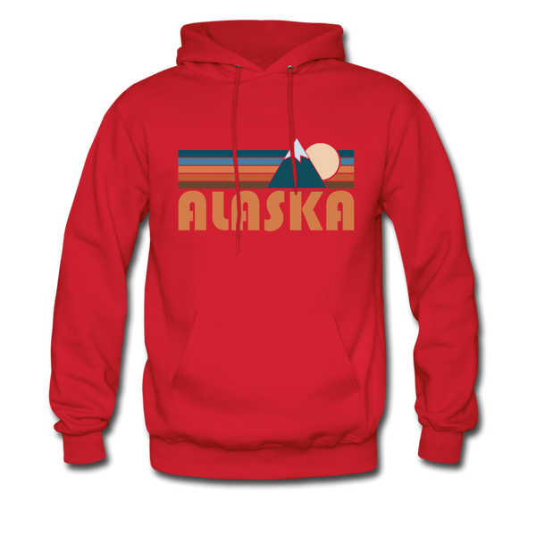 Alaska Hoodie - Retro Mountain Alaska Crewneck Hooded Sweatshirt - red