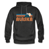 Alaska Hoodie - Retro Mountain Alaska Crewneck Hooded Sweatshirt - charcoal gray