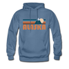 Alaska Hoodie - Retro Mountain Alaska Crewneck Hooded Sweatshirt - denim blue