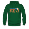 Alaska Hoodie - Retro Mountain Alaska Crewneck Hooded Sweatshirt - forest green