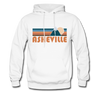 Asheville, North Carolina Hoodie - Retro Mountain Asheville Crewneck Hooded Sweatshirt - white
