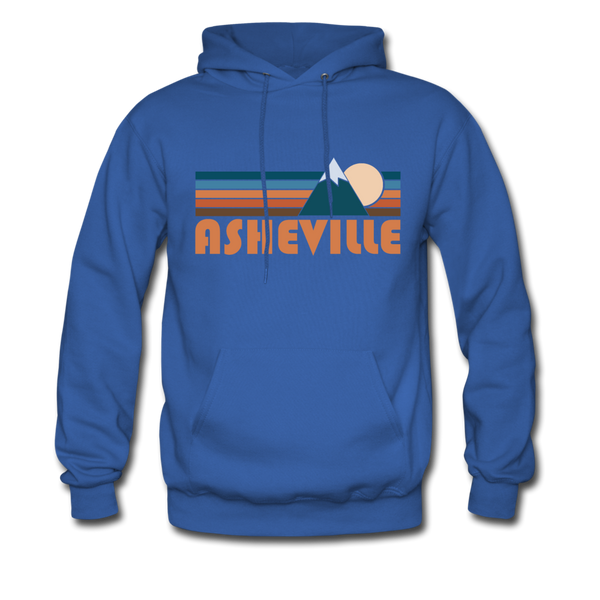 Asheville, North Carolina Hoodie - Retro Mountain Asheville Crewneck Hooded Sweatshirt - royal blue