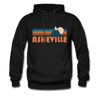 Asheville, North Carolina Hoodie - Retro Mountain Asheville Crewneck Hooded Sweatshirt - black