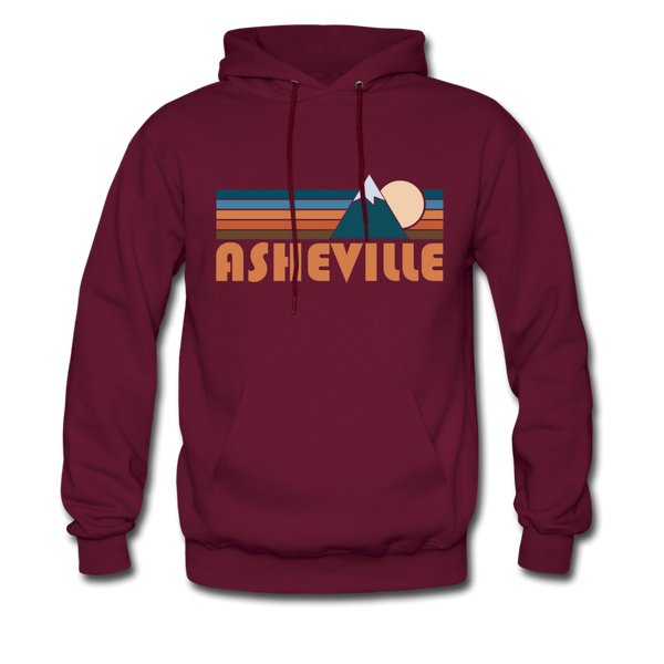 Asheville, North Carolina Hoodie - Retro Mountain Asheville Crewneck Hooded Sweatshirt - burgundy