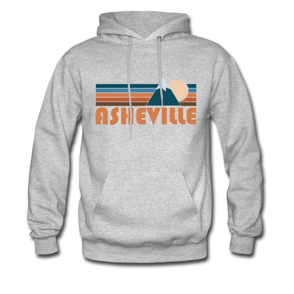 Asheville, North Carolina Hoodie - Retro Mountain Asheville Crewneck Hooded Sweatshirt - heather gray