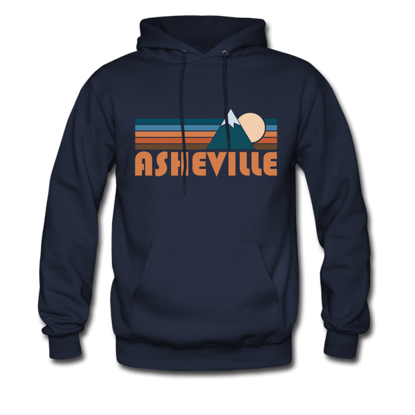 Asheville, North Carolina Hoodie - Retro Mountain Asheville Crewneck Hooded Sweatshirt - navy