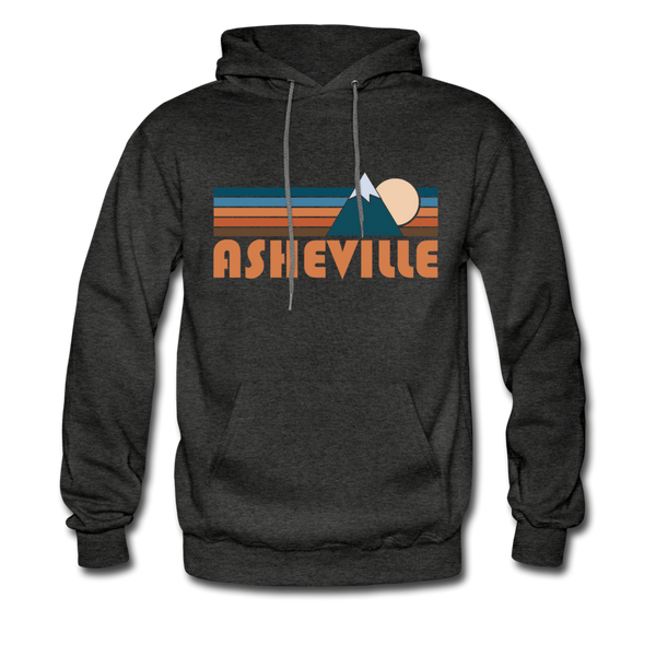 Asheville, North Carolina Hoodie - Retro Mountain Asheville Crewneck Hooded Sweatshirt - charcoal gray
