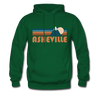 Asheville, North Carolina Hoodie - Retro Mountain Asheville Crewneck Hooded Sweatshirt - forest green