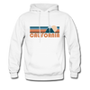 California Hoodie - Retro Mountain California Crewneck Hooded Sweatshirt - white
