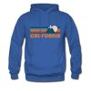 California Hoodie - Retro Mountain California Crewneck Hooded Sweatshirt - royal blue