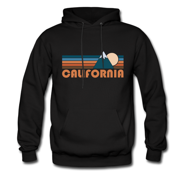 California Hoodie - Retro Mountain California Crewneck Hooded Sweatshirt - black