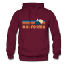 California Hoodie - Retro Mountain California Crewneck Hooded Sweatshirt - burgundy
