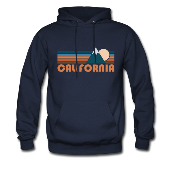 California Hoodie - Retro Mountain California Crewneck Hooded Sweatshirt - navy
