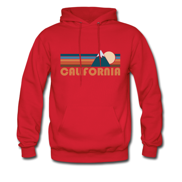 California Hoodie - Retro Mountain California Crewneck Hooded Sweatshirt - red