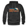 California Hoodie - Retro Mountain California Crewneck Hooded Sweatshirt - charcoal gray