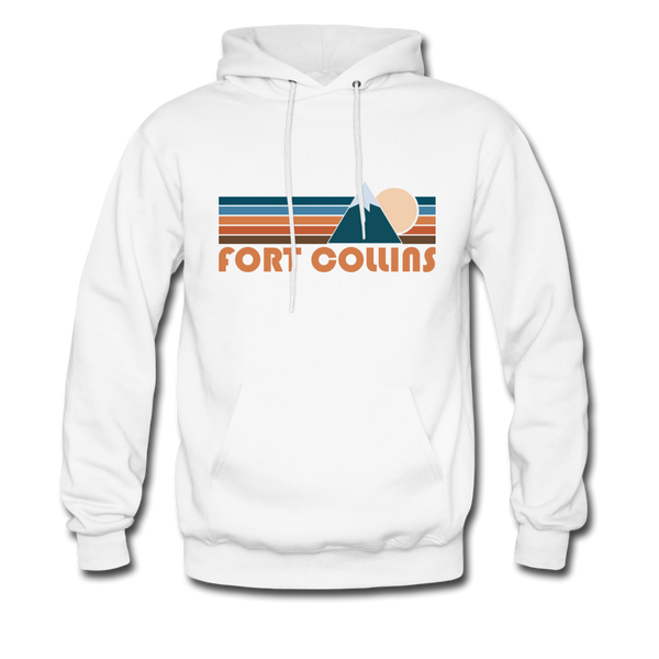 Fort Collins, Colorado Hoodie - Retro Mountain Fort Collins Crewneck Hooded Sweatshirt - white