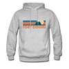 Fort Collins, Colorado Hoodie - Retro Mountain Fort Collins Crewneck Hooded Sweatshirt - heather gray