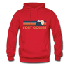 Fort Collins, Colorado Hoodie - Retro Mountain Fort Collins Crewneck Hooded Sweatshirt - red