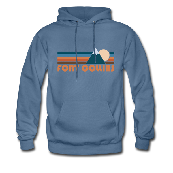 Fort Collins, Colorado Hoodie - Retro Mountain Fort Collins Crewneck Hooded Sweatshirt - denim blue