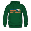 Fort Collins, Colorado Hoodie - Retro Mountain Fort Collins Crewneck Hooded Sweatshirt - forest green