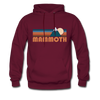 Mammoth, California Hoodie - Retro Mountain Mammoth Crewneck Hooded Sweatshirt - burgundy