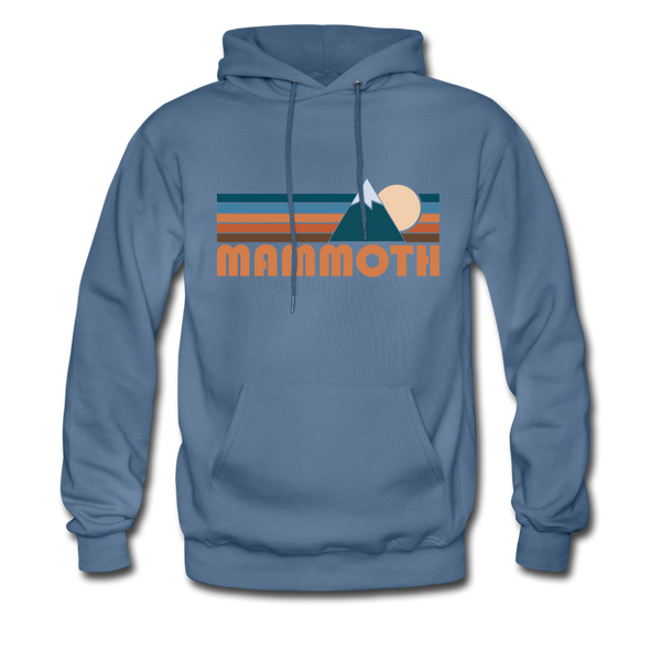 Mammoth, California Hoodie - Retro Mountain Mammoth Crewneck Hooded Sweatshirt - denim blue