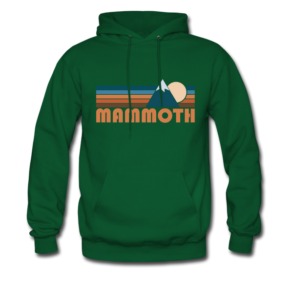 Mammoth, California Hoodie - Retro Mountain Mammoth Crewneck Hooded Sweatshirt - forest green