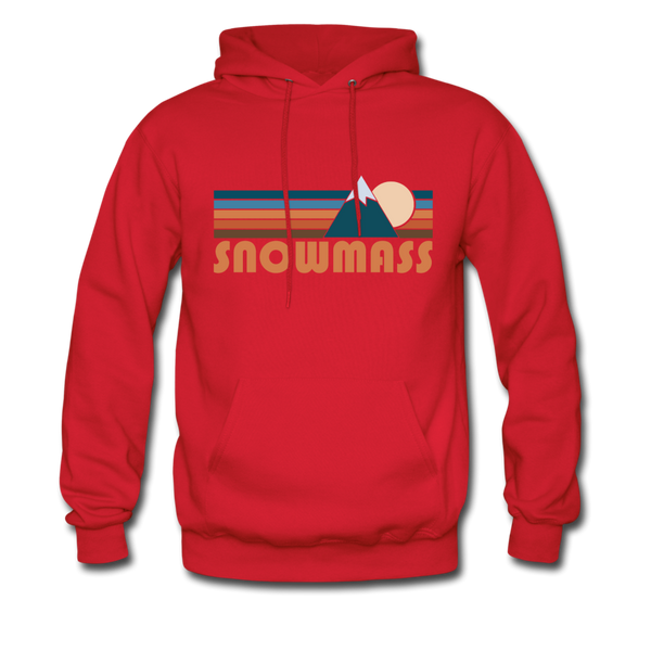 Snowmass, Colorado Hoodie - Retro Mountain Snowmass Crewneck Hooded Sweatshirt - red