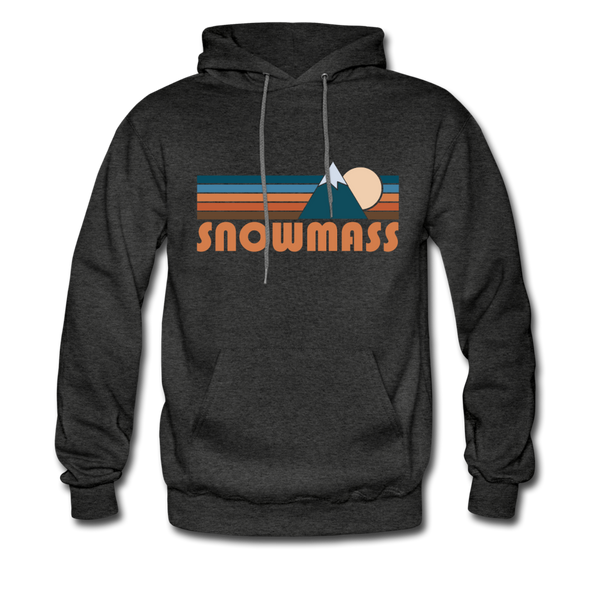 Snowmass, Colorado Hoodie - Retro Mountain Snowmass Crewneck Hooded Sweatshirt - charcoal gray