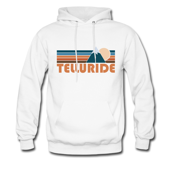 Telluride, Colorado Hoodie - Retro Mountain Telluride Crewneck Hooded Sweatshirt - white