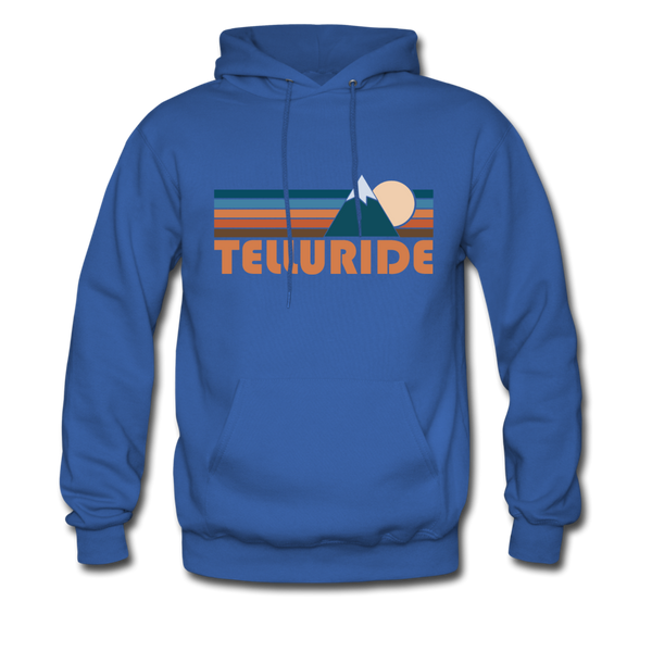 Telluride, Colorado Hoodie - Retro Mountain Telluride Crewneck Hooded Sweatshirt - royal blue